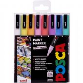 Posca - PC-3M Fine Bullet Tip - Water Based Paint Marker - 8pc Pastel Pack